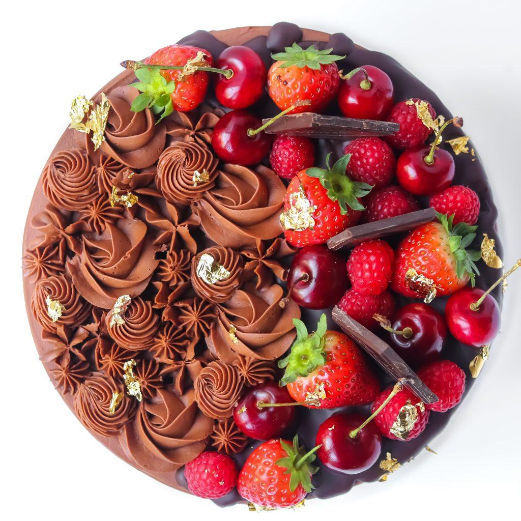 Fruity Chocolate Cake Top View