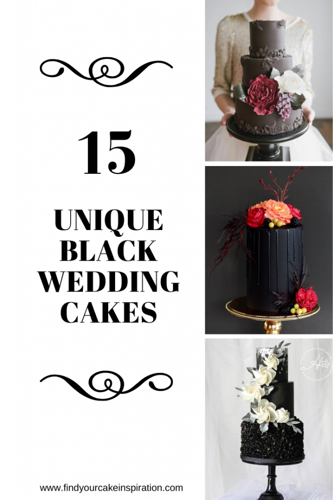 15 Unique Black Wedding Cakes