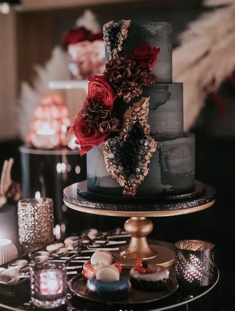 Black Geode Wedding Cake