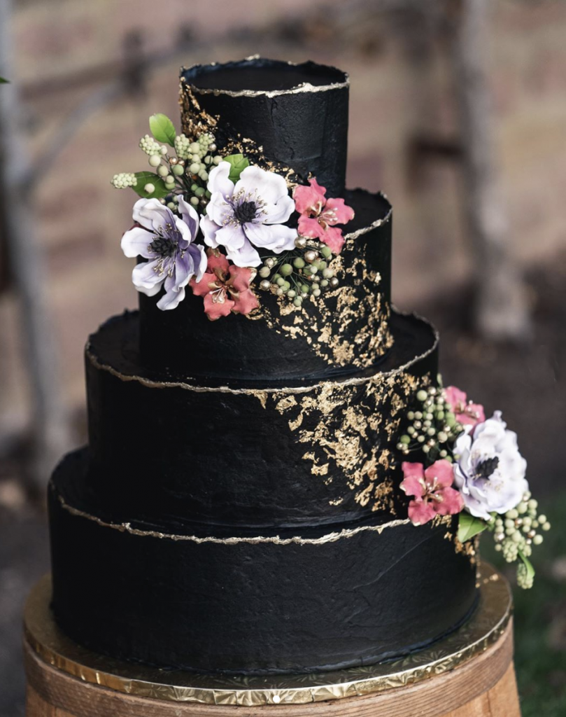 Gold Tipped Black Wedding Cake