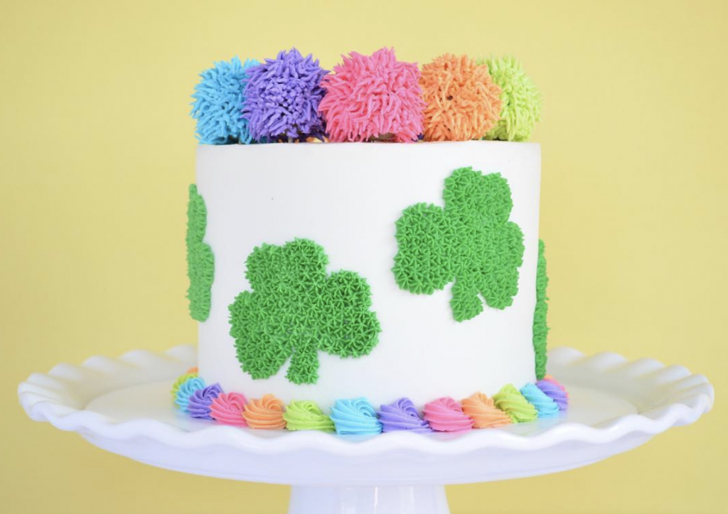 Pom Pom Shamrock Cake