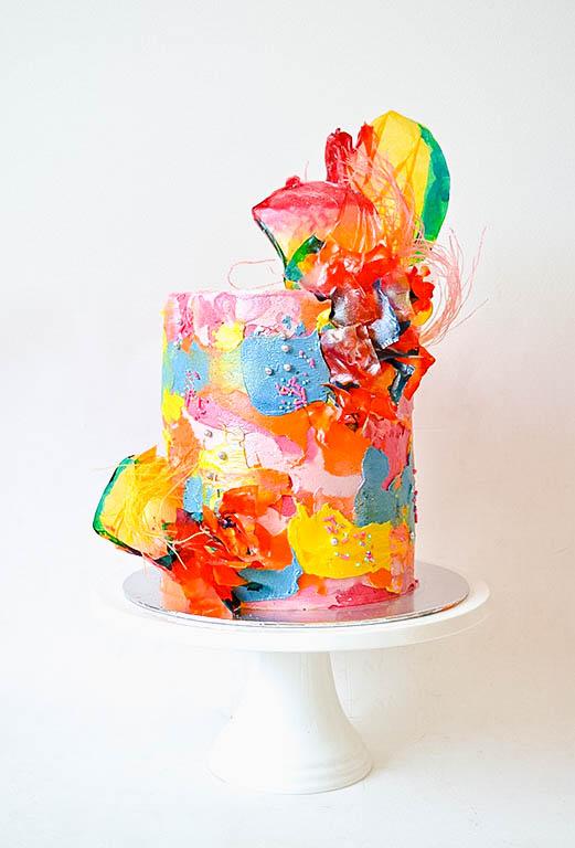 Rainbow Rice Paper Cake