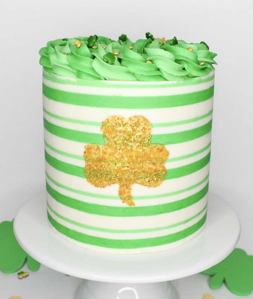 Striped Gold Clover Cake