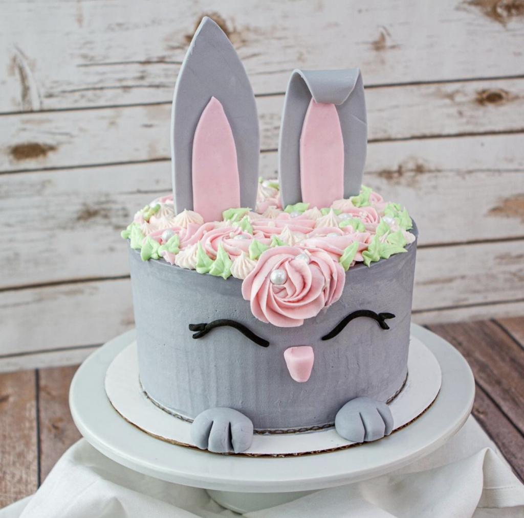Adorable Gray Bunny Cake