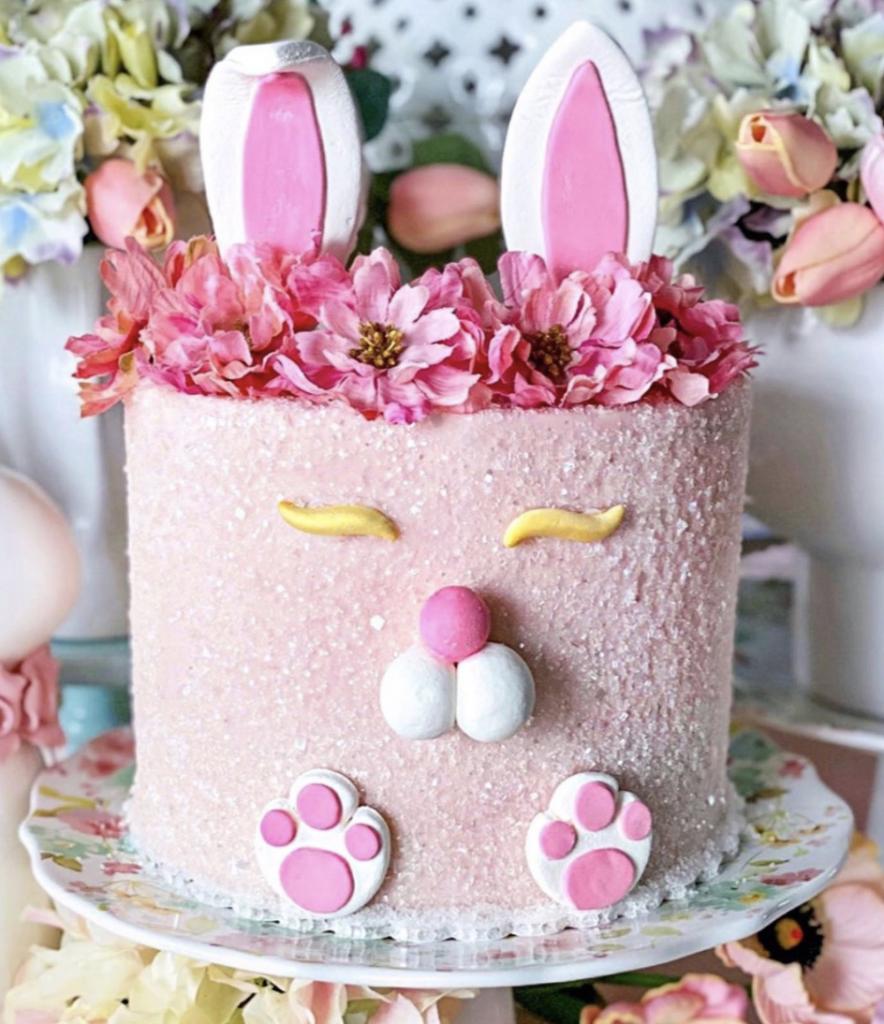 Pink Glitter Bunny Cake
