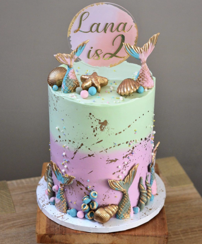 Gold Splatter Mermaid Cake