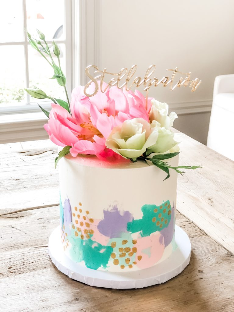 Pretty Blooms Watercolor Cake