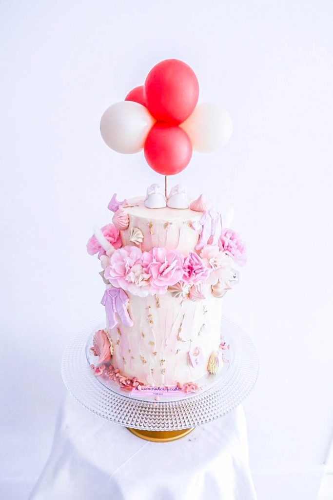 Floral & Balloon Baby Girl Shower Cake