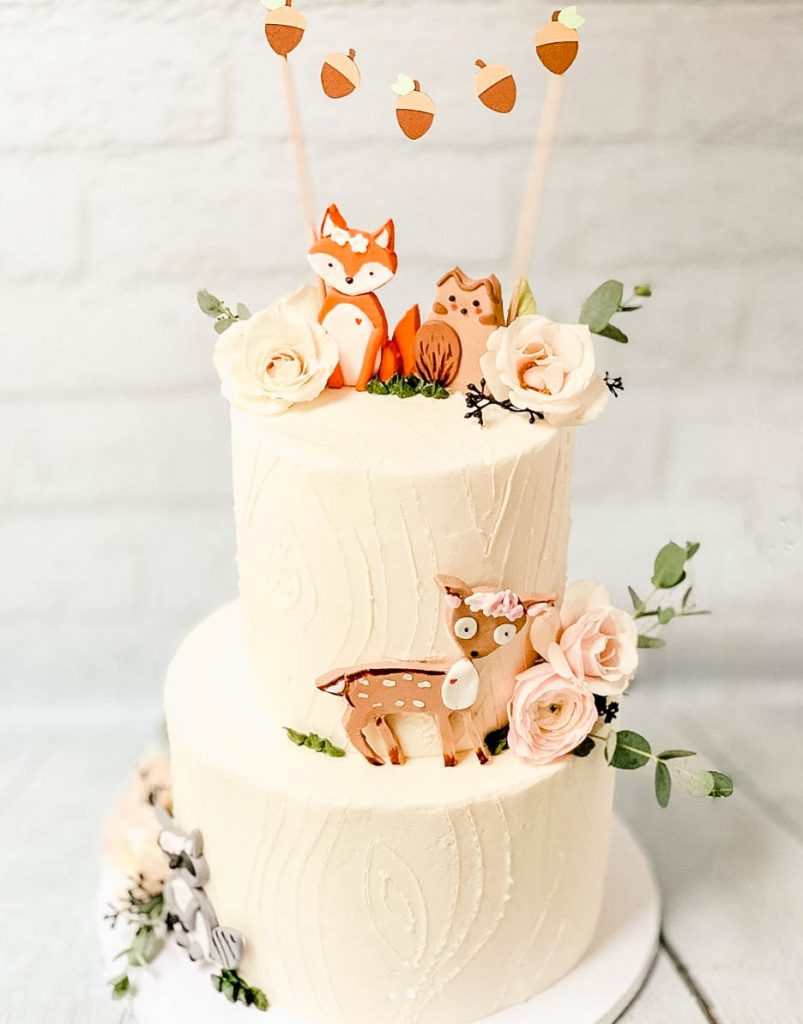 Cute Woodland Baby Shower Cake