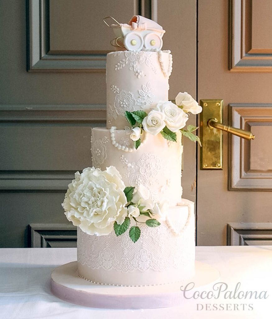 Delicate Lace & Sugar Flowers Cake