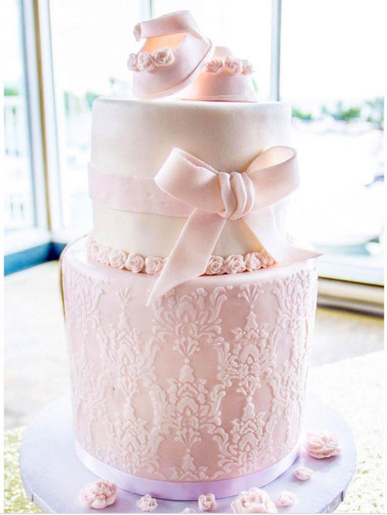 Sweet Lace & Ribbon Baby Shower Cake