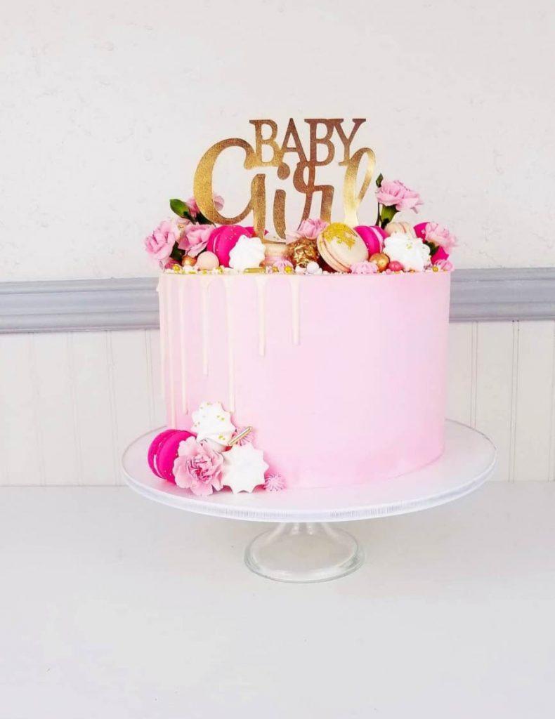 Pretty in Pink Baby Girl Shower Cake