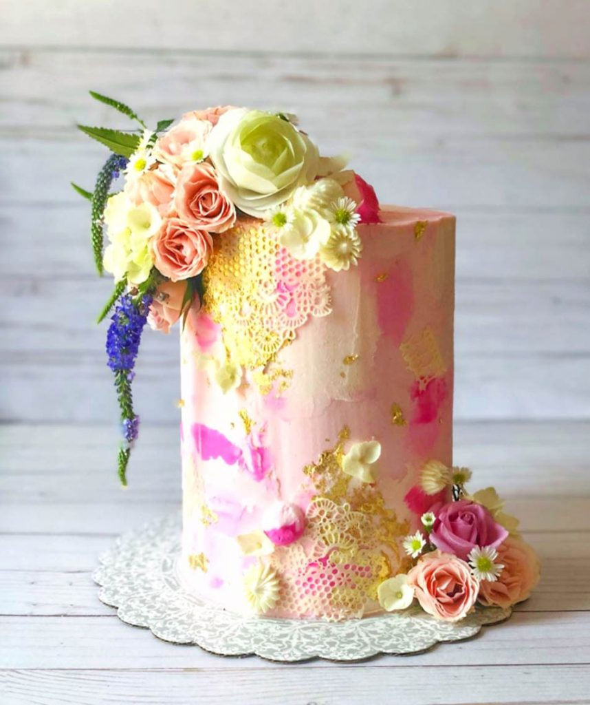 Tall & Pink Baby Girl Shower Cake