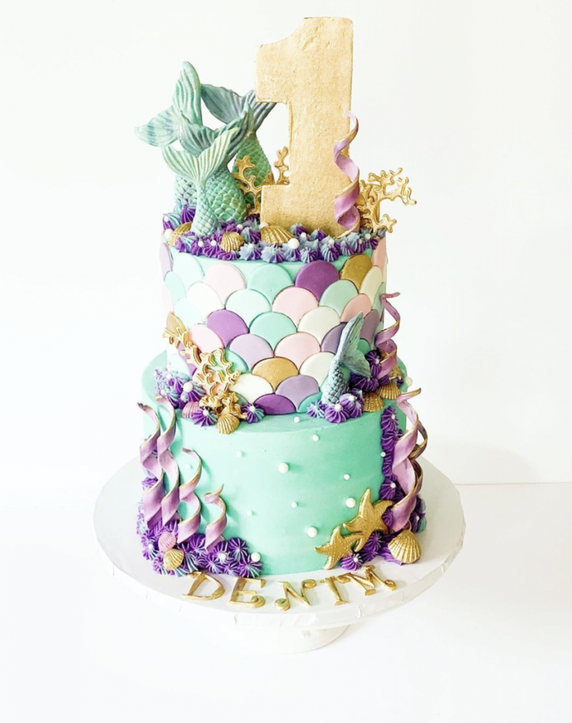 First Mermaid Birthday Cake