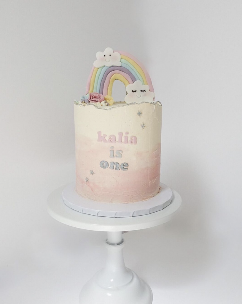 Rainbow First Birthday Cake