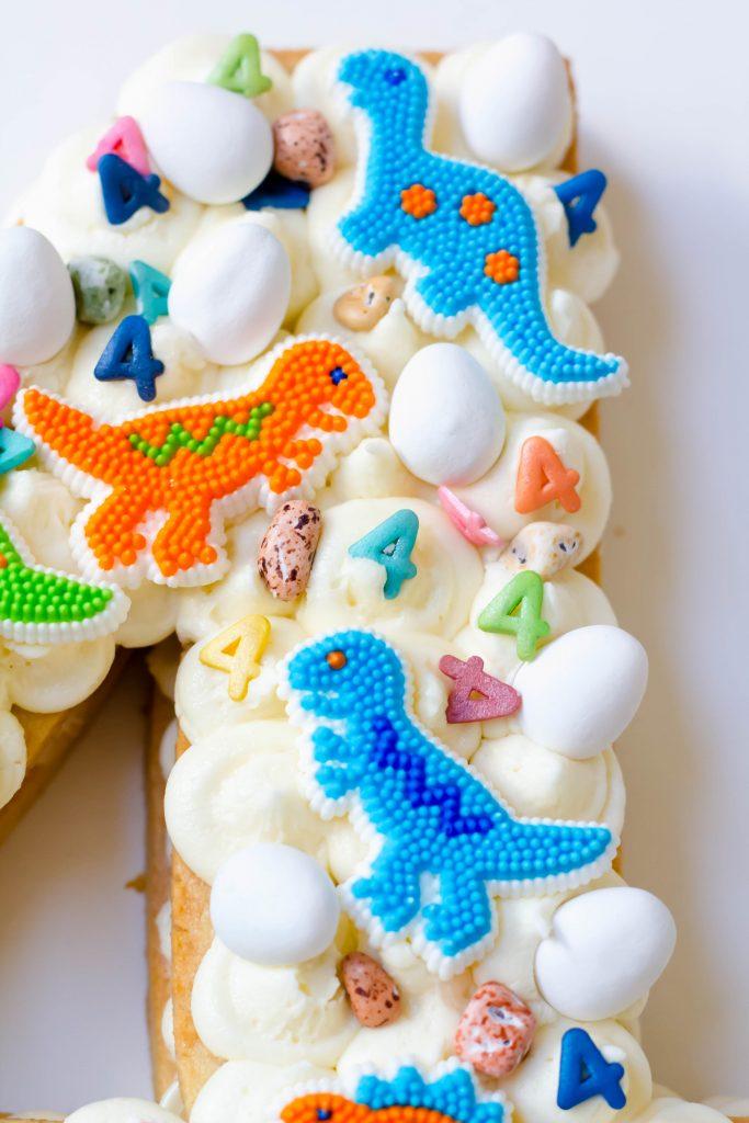 Dinosaur Number Cookie Cake