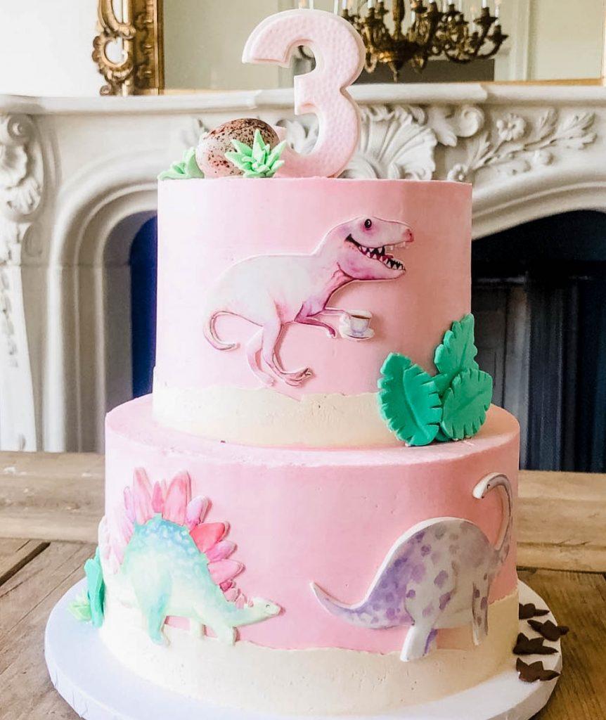Pink Dino Cake