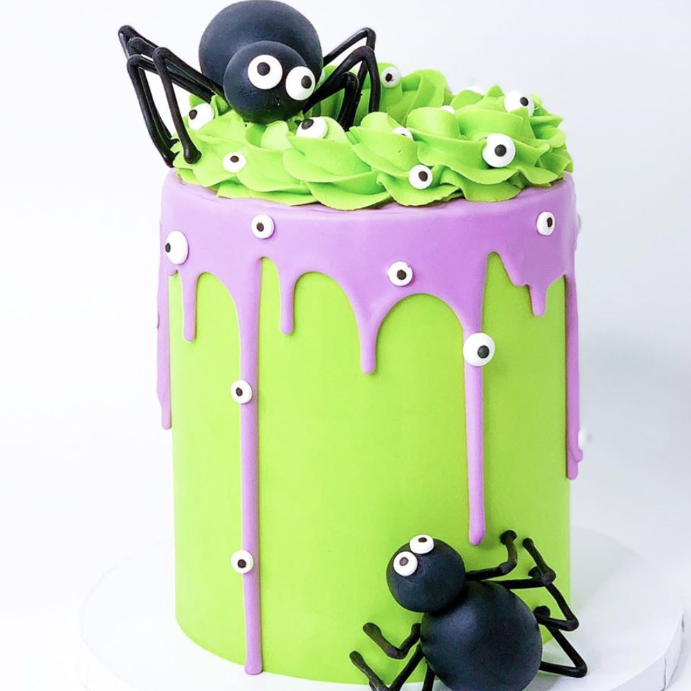 Colorful Cake with Fondant Spiders