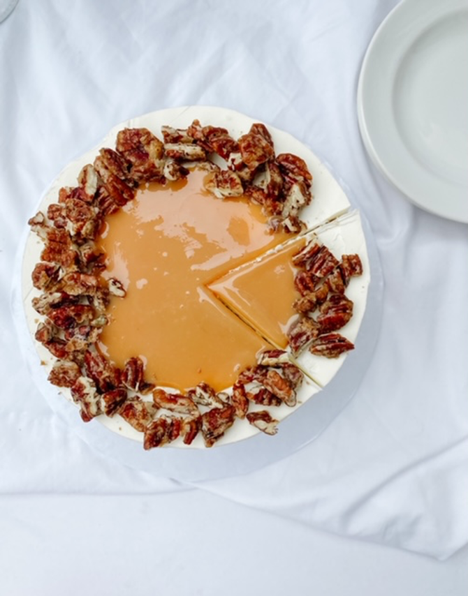 Dulce De Leche Cake With Candied Pecans