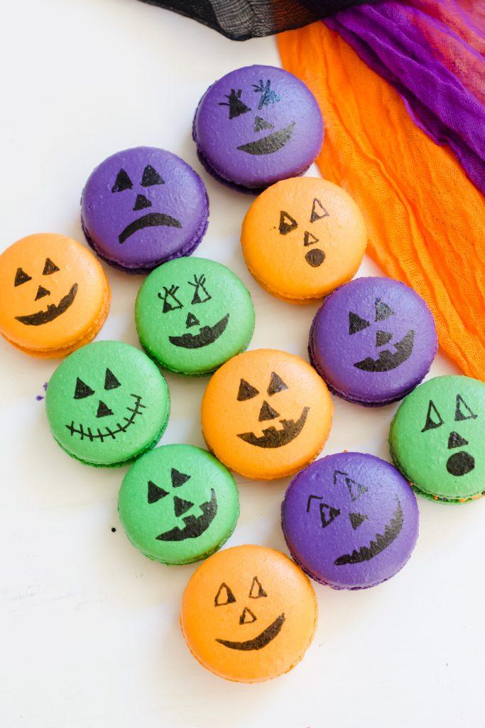Pumpkin Face Macarons