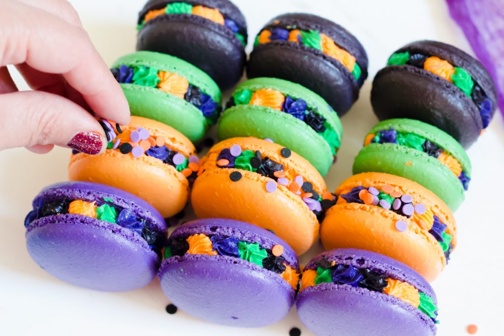 Halloween Macarons with Sprinkles