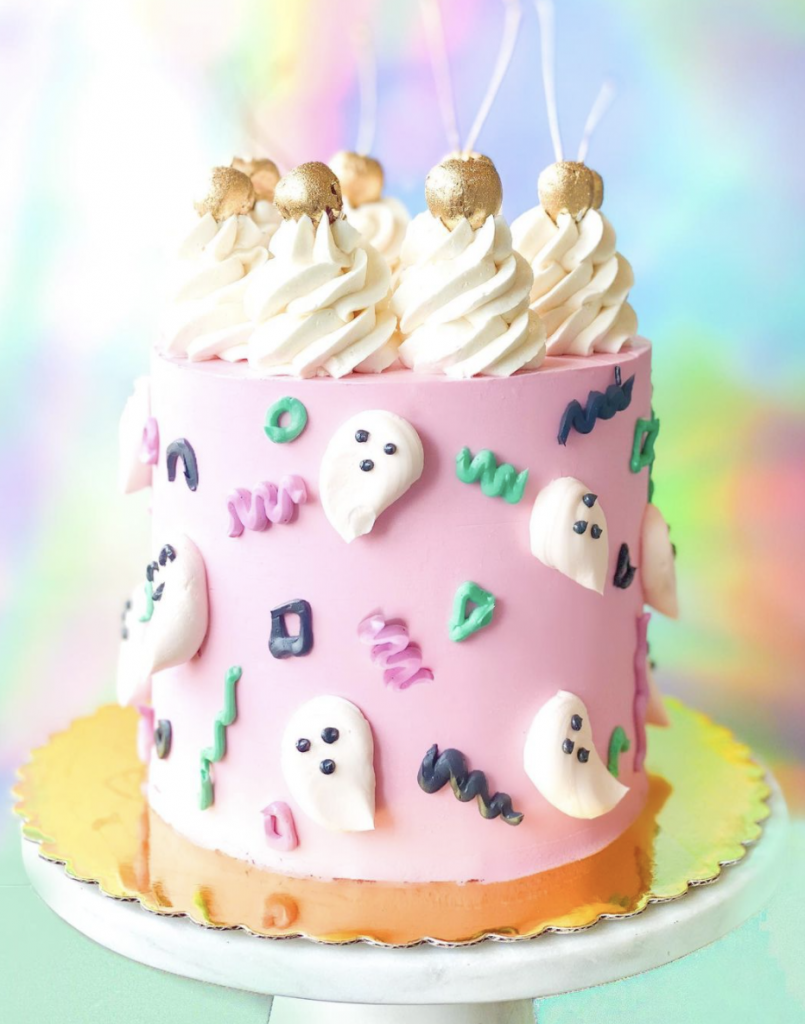 Spooky Glam Ghost Cake