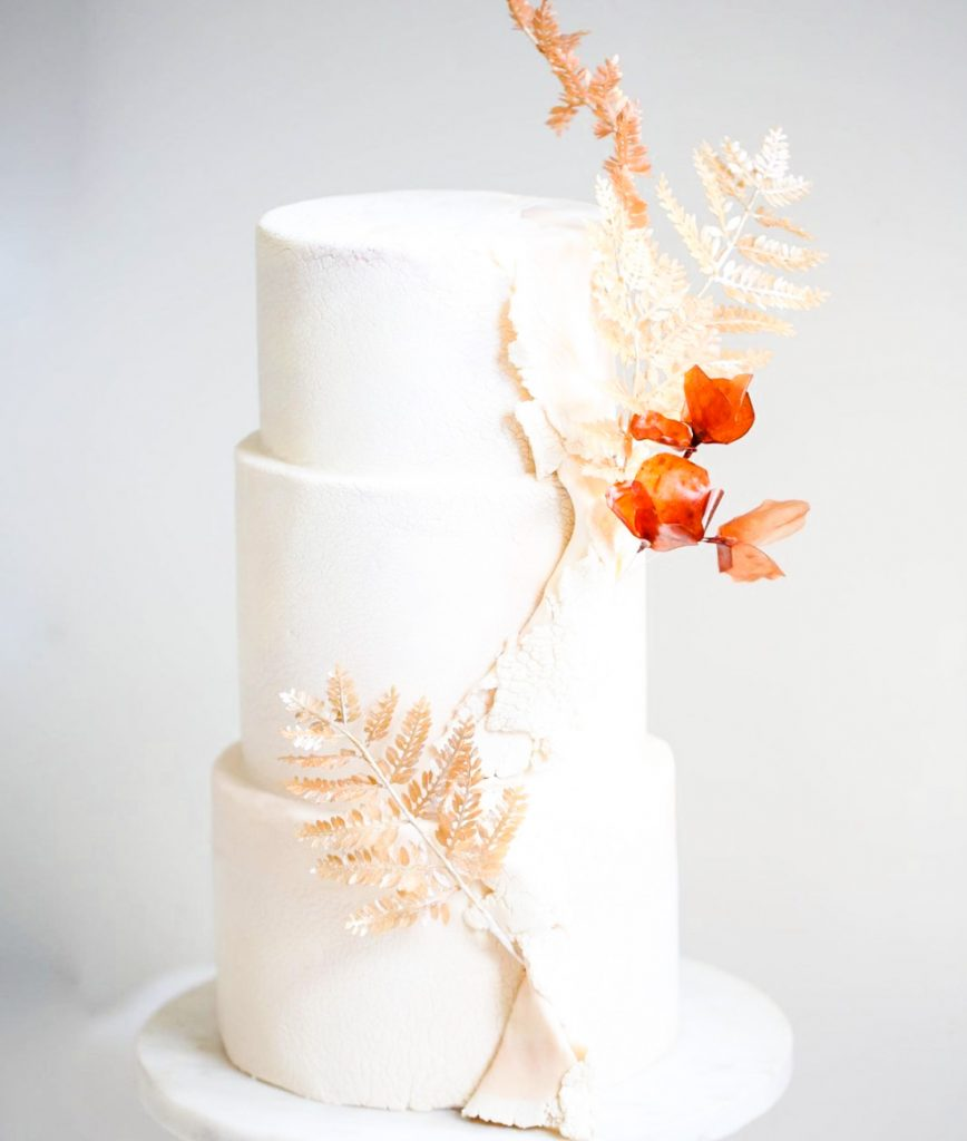 Fall Fern Wedding Cake