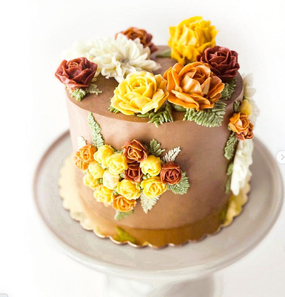 Fall Inspired Buttercream Flower Cake