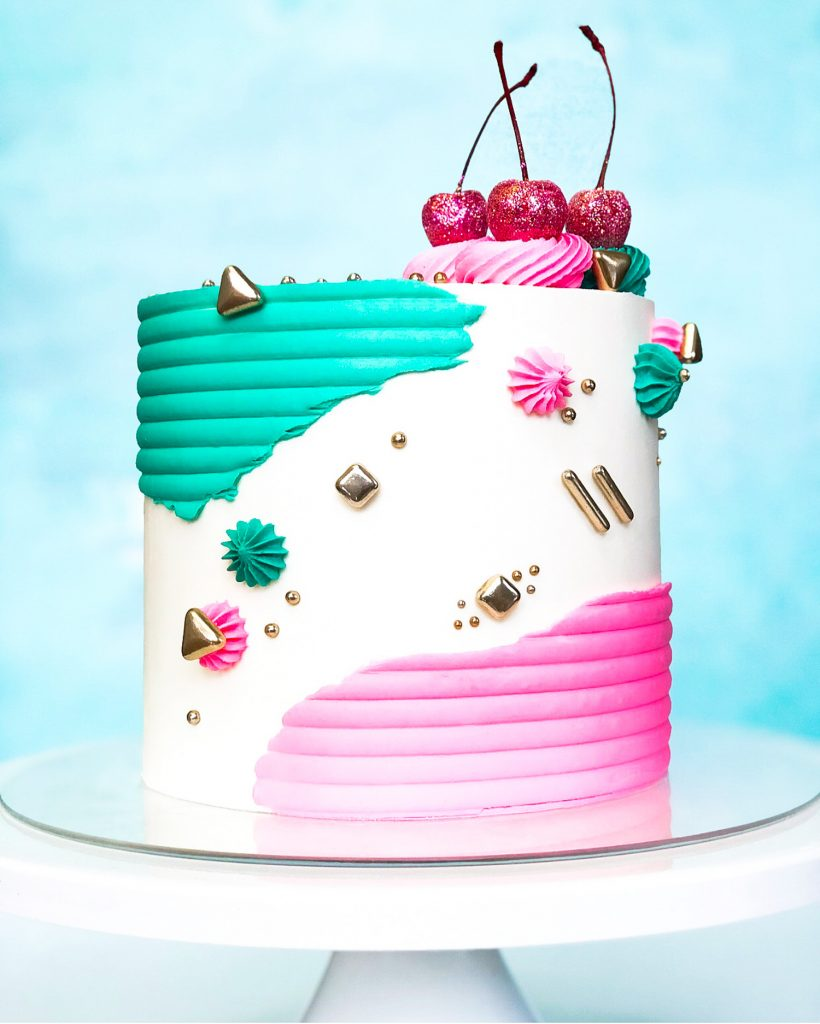 Pink Glitter Cherry Cake