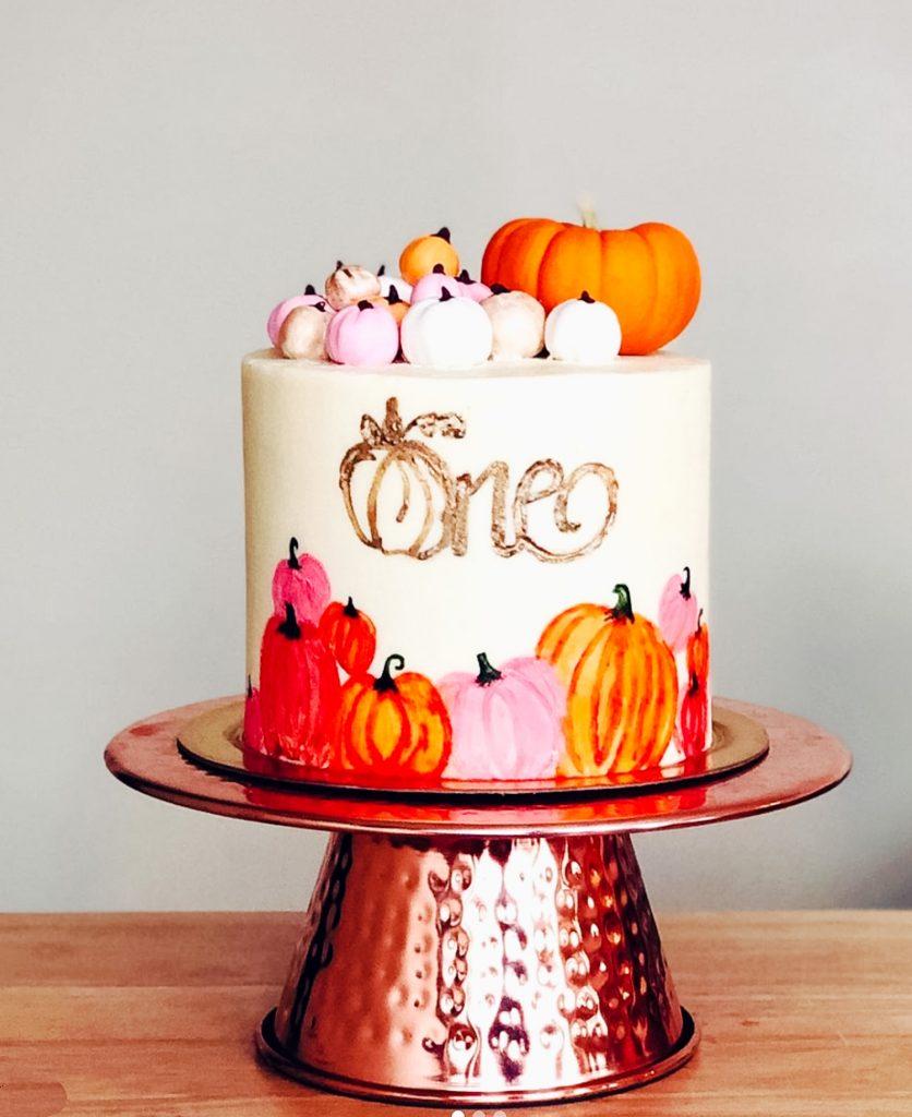Pumpkin First Birthday Cake