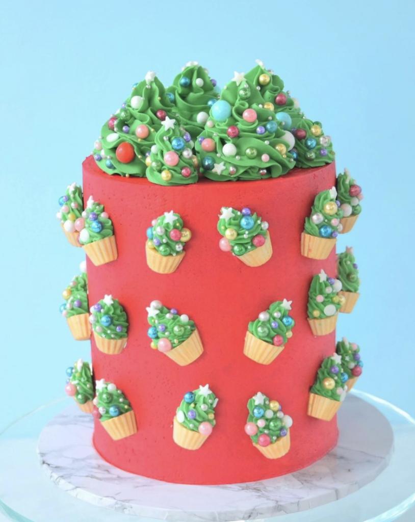 Mini Christmas Tree Cupcakes Cake