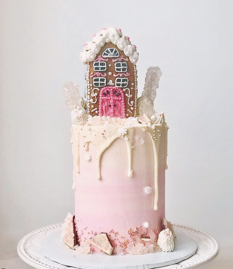 Pink Gingerbread House Cake
