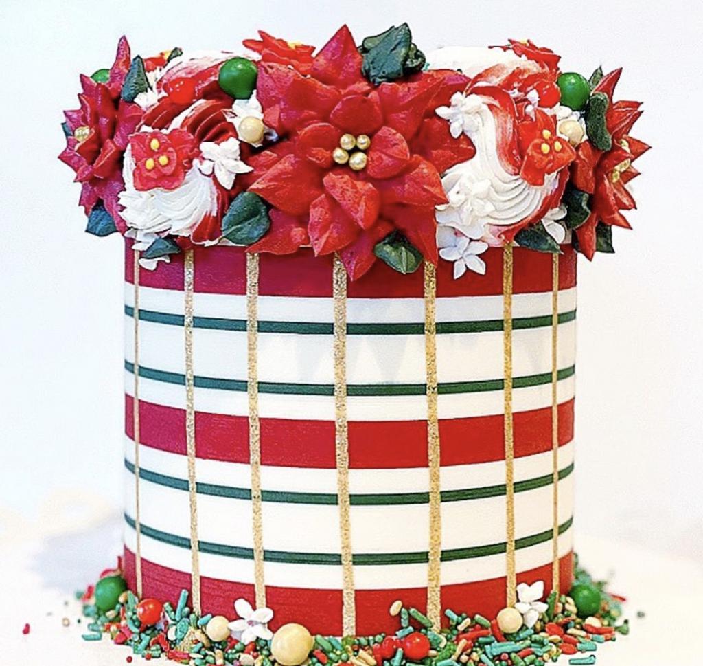 Plaid Poinsettia Cake