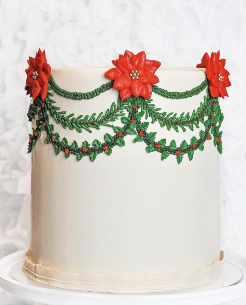 Poinsettia Garland Cake