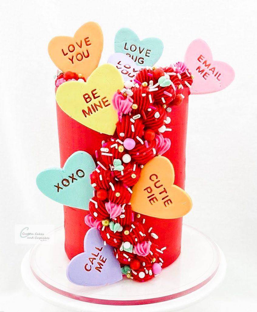 Conversation Hearts Cake