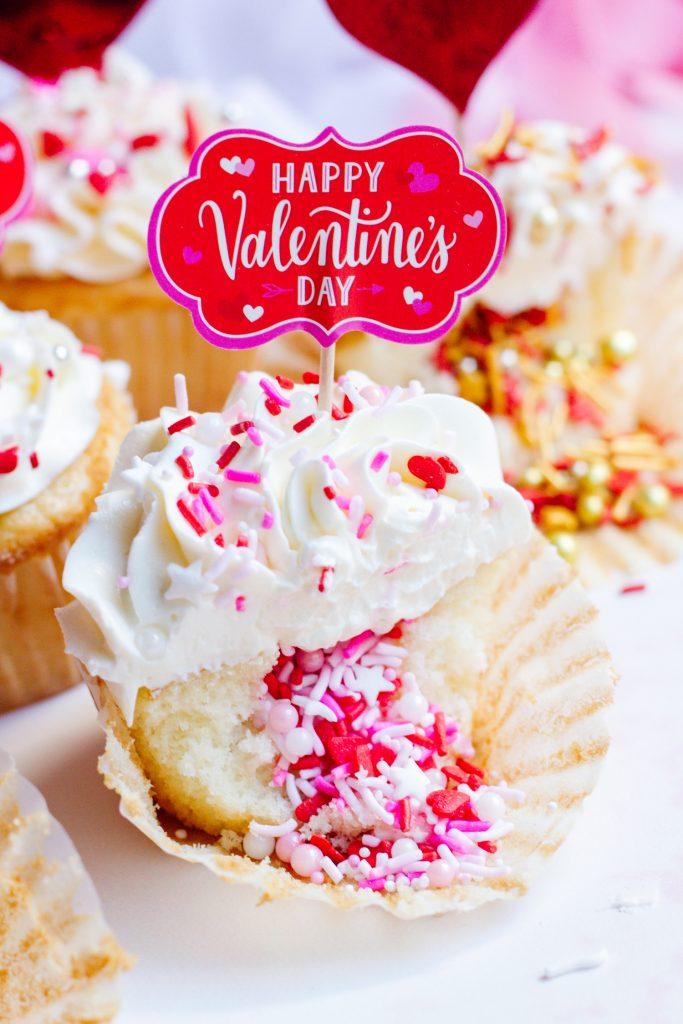 V-Day Sprinkle Cupcake