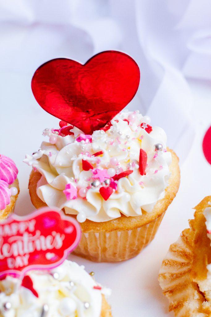 Pretty Valentine's Day Cupcake with Sprinkles