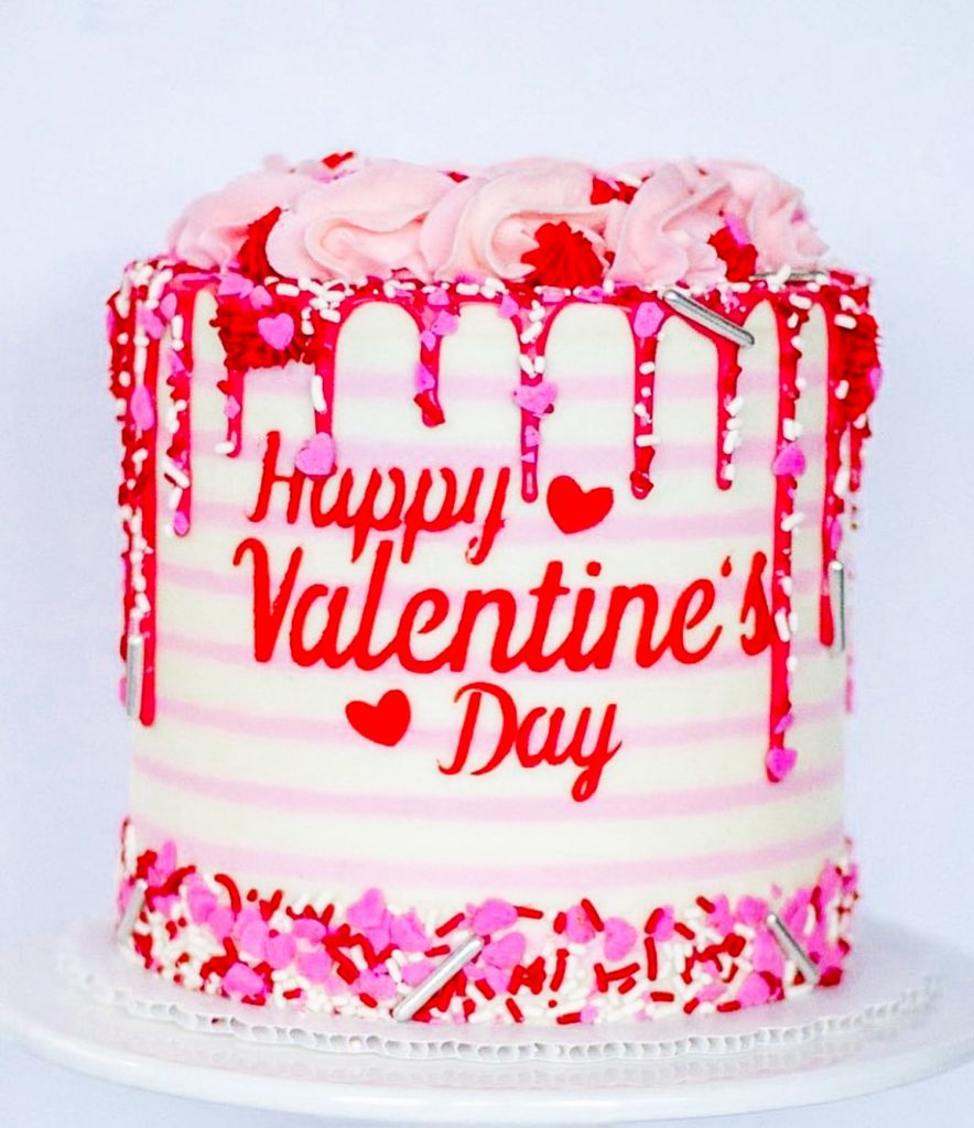 Pink Striped Valentine's Cake
