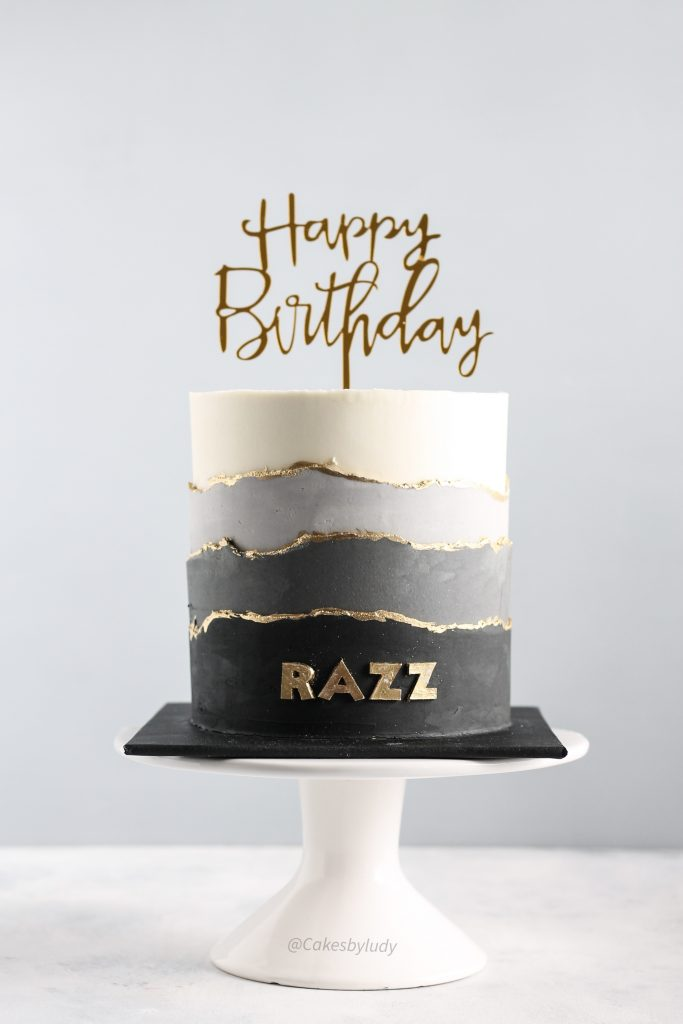 Grayscale Birthday Cake