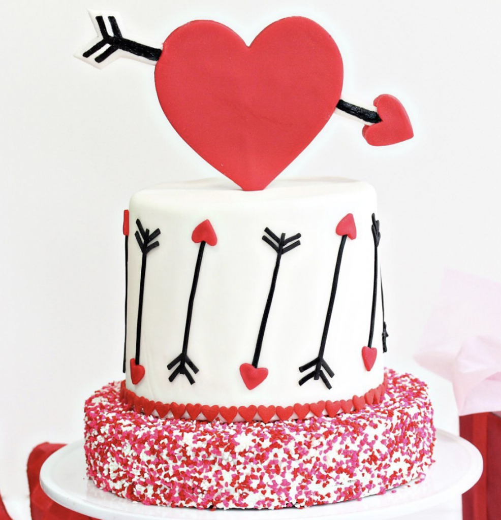 Pink And Red Velvet Valentine's Day Cake