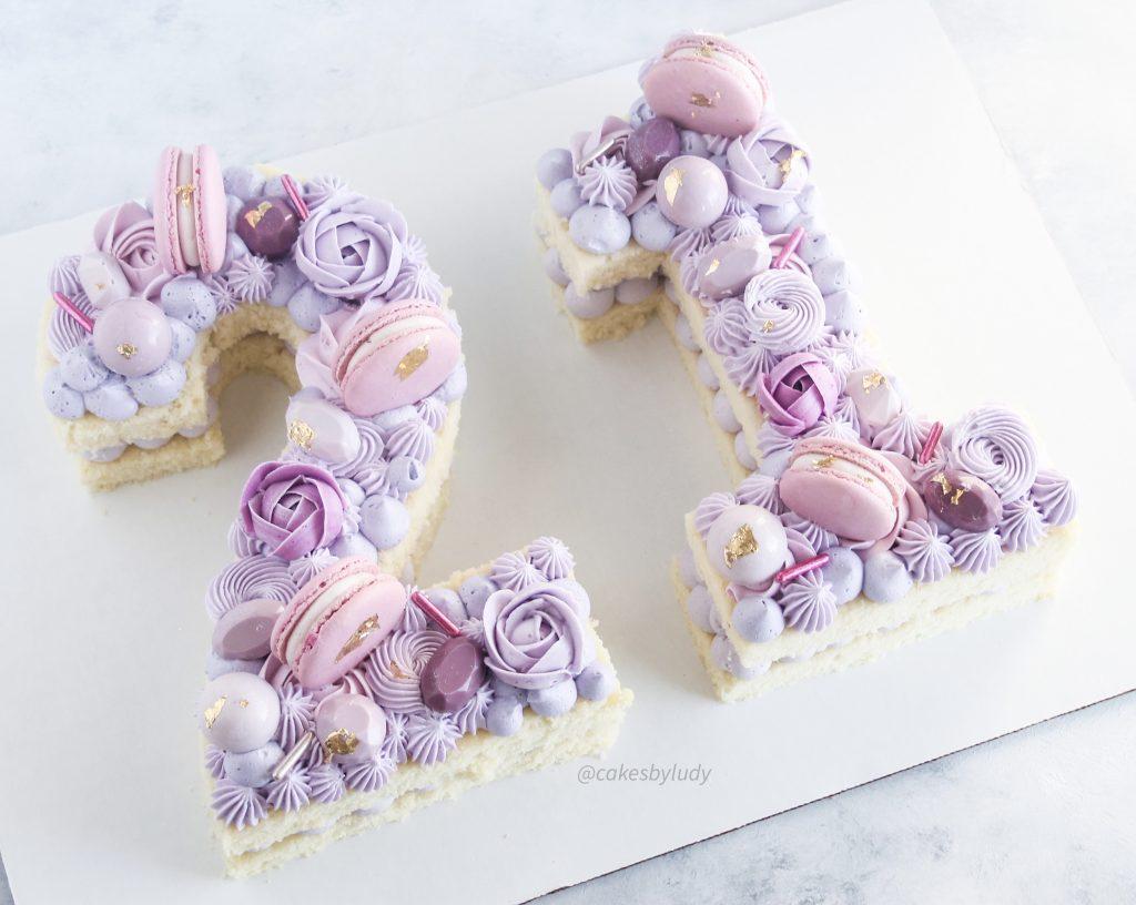 Purple Number Cakes