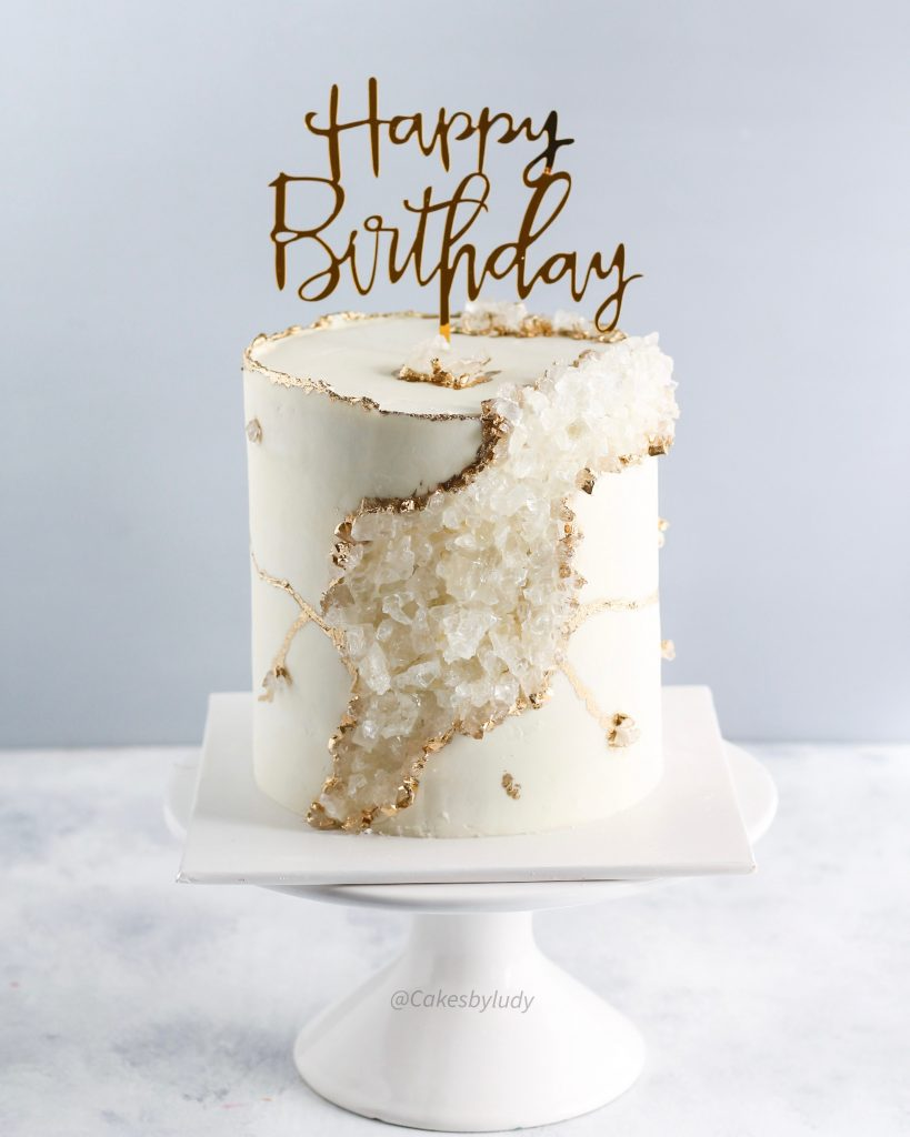 White & Gold Geode Cake