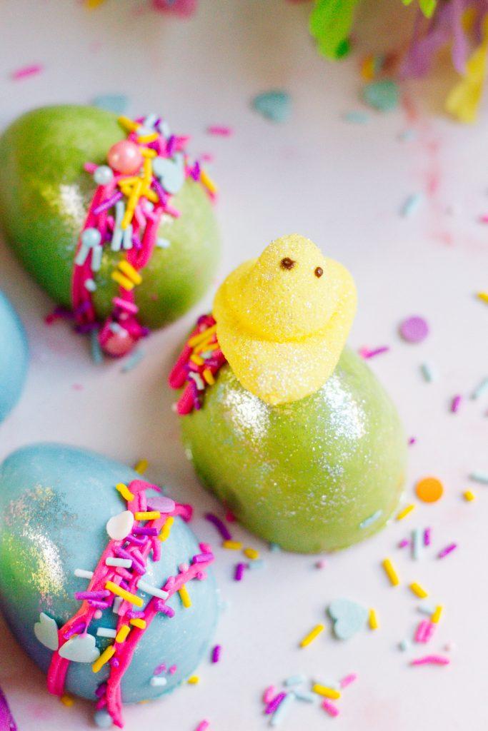 Mini Chick Peeps Sitting on a Chocolate Egg