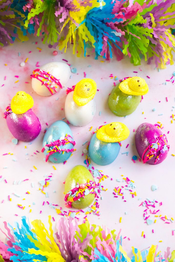 Easter Chocolate Eggs With Mini Chicks Peeps