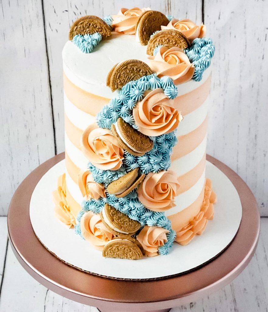 Golden Oreo Striped Cake