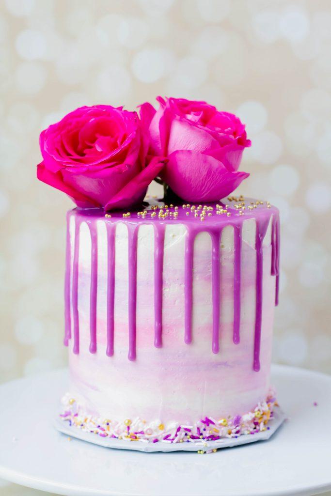 Watercolor & Floral Drip Cake