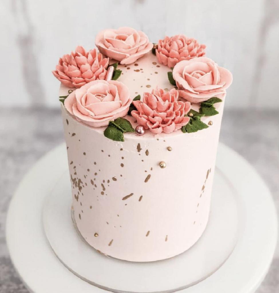 Pink Buttercream Flowers Cake