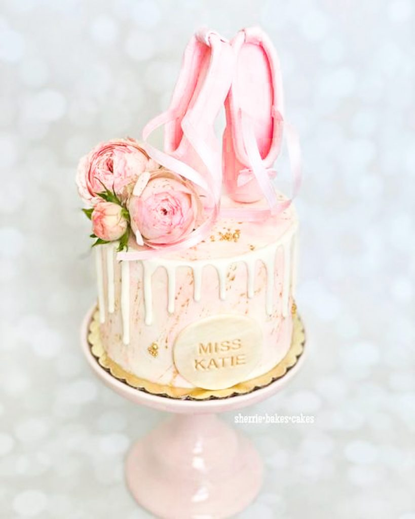 Ballet Shoes & Roses Cake