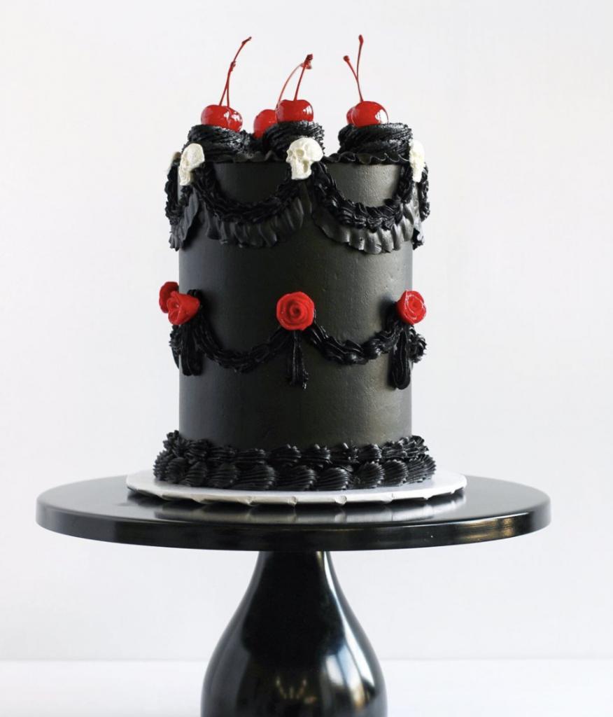 Black Vintage Goth Cake