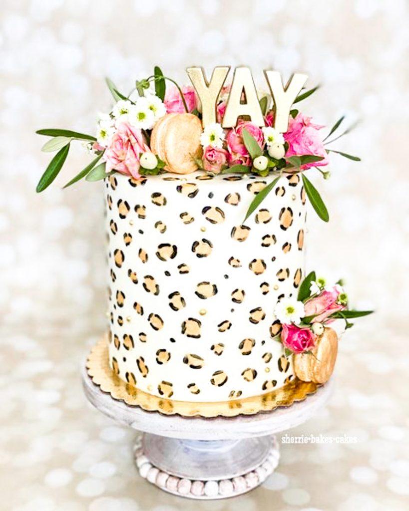 Floral Cheetah Cake